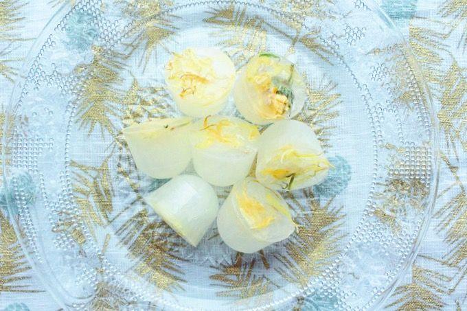 ハーブドリンクレシピ:カレンデュラ・レモネードアイスキューブ